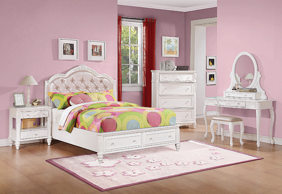 Caroline Twin Upholstered Storage Bed Pink and White - Hover