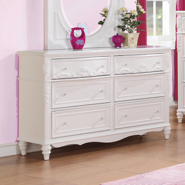 Caroline 6-drawer Rectangular Dresser White - Hover