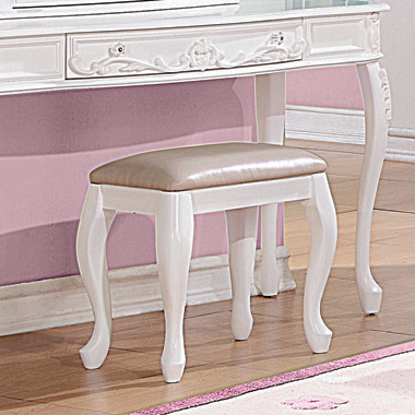 Caroline Vanity Stool White and Pink