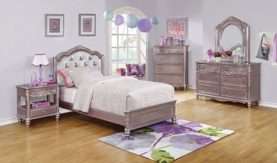 Caroline Twin Upholstered Bed Metallic Lilac and Grey - Hover