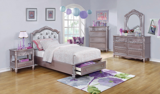 Caroline Twin Storage Bed Metallic Lilac and Grey - Hover
