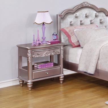 Caroline 2-drawer Rectangular Nightstand Metallic Lilac - Hover