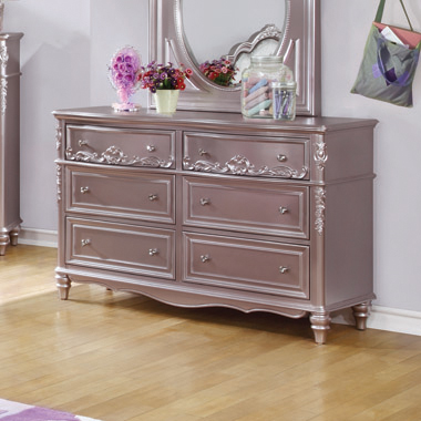 Caroline 6-drawer Rectangular Dresser Metallic Lilac - Hover