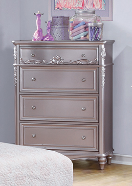 Caroline 4-drawer Rectangular Chest Metallic Lilac