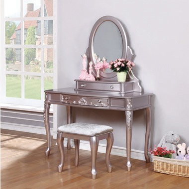 Caroline 1-drawer Vanity Desk Metallic Lilac - Hover