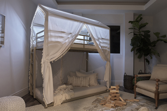 Belton Twin/Twin Bunk Bed with Canopy Champagne