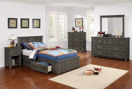 Napoleon Twin Platform Bed with Storage Drawers Gunsmoke - Hover