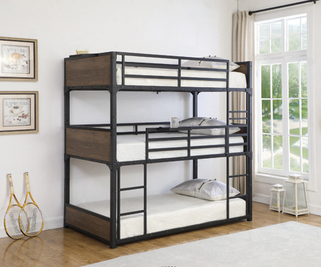 Nickerson Twin Triple Bunk Bed Matte Black - Hover