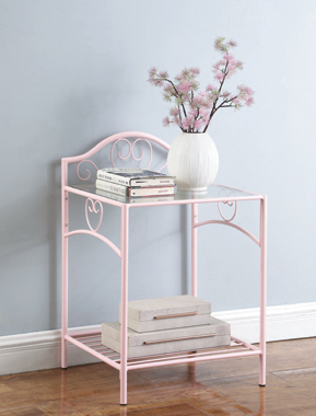 Massi 1-shelf Nightstand with Glass Top Powder Pink - Hover