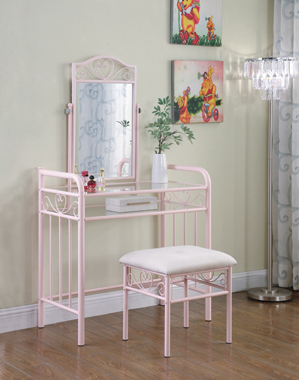 Massi 1-shelf Vanity with Stool Powder Pink - Hover