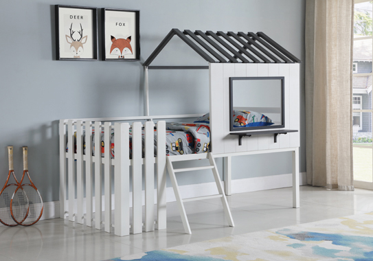 Timber House-designed Twin Loft Bed White and Gunmetal - Hover