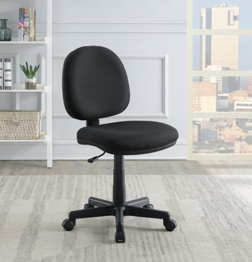 Armless Adjustable Height Office Chair Black - Hover