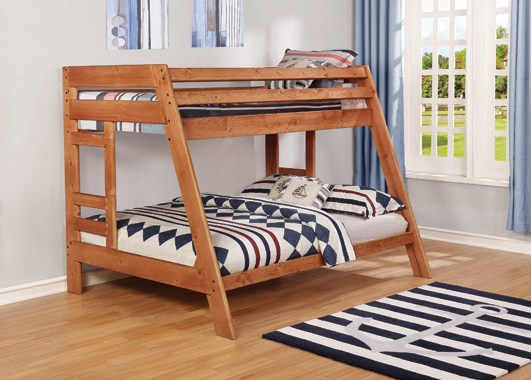Wrangle Hill Twin over Full Bunk Bed with Built-in Ladder Amber Wash - Hover