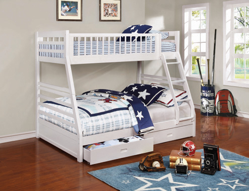 Ashton Twin over Full 2-drawer Bunk Bed White - Hover