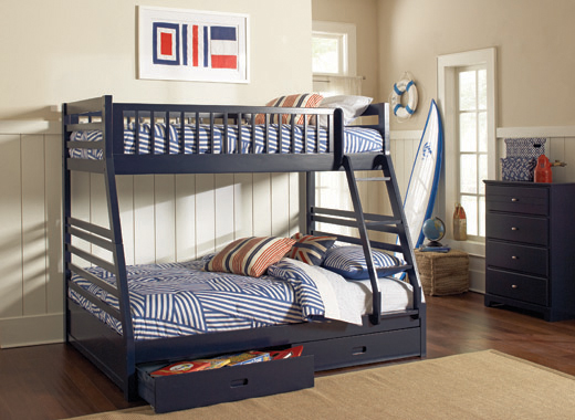 Ashton Twin over Full 2-drawer Bunk Bed Navy Blue - Hover