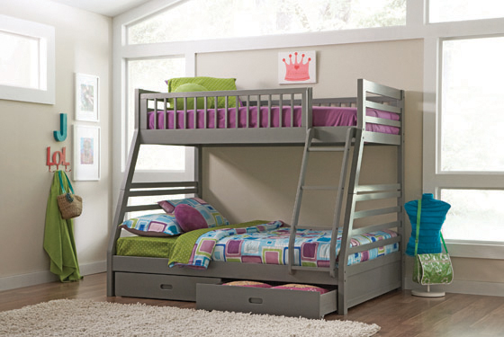 Ashton Twin over Full Bunk 2-drawer Bed Grey - Hover