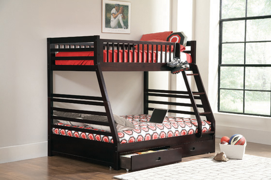 Ashton Twin over Full 2-drawer Bunk Bed Cappuccino