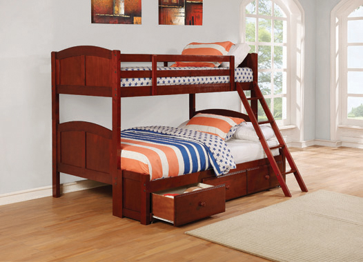 Parker Twin over Full Panel Bunk Bed Chestnut - Hover