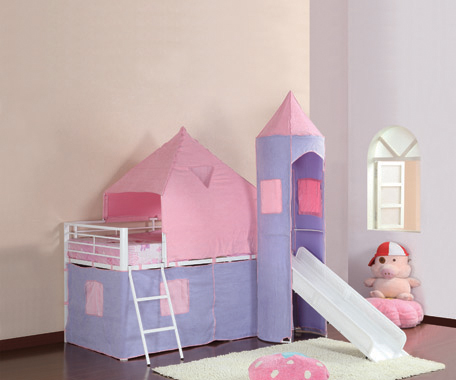 Princess Castle Twin Tent Loft Bed Pink and Perwinkle - Hover