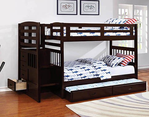 Dublin 4-storage Twin over Twin Bunk Bed with Staircase Cappuccino - Hover