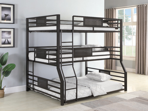 Rogen Fill/Twin Xl/Queen Triple Bunk Bed Dark Bronze - Hover