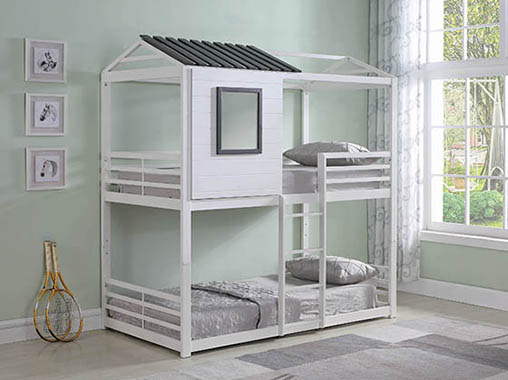 Belton House-themed Twin over Twin Bunk Bed White - Hover