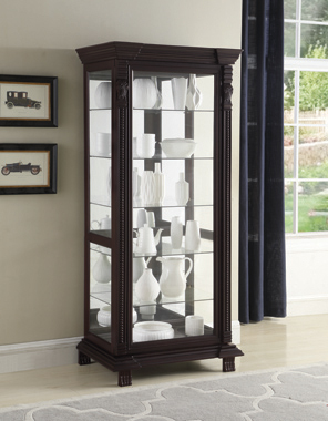 6-shelf Rectangular Curio Cabinet Cappuccino and Clear - Hover
