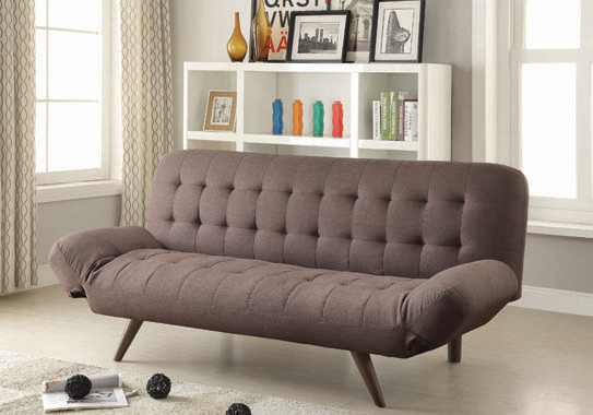 Janet Tufted Sofa Bed with Adjustable Armrest Milk Grey - Hover