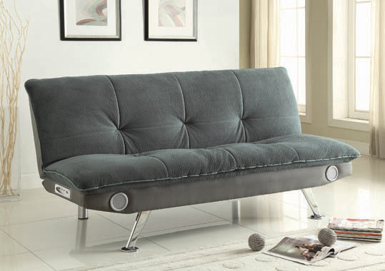 Odel Upholstered Sofa Bed with Bluetooth Speakers Grey - Hover