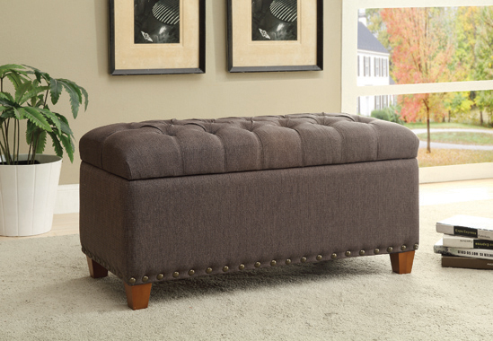 Tufted Storage Bench with Nailhead Trim Mocha - Hover