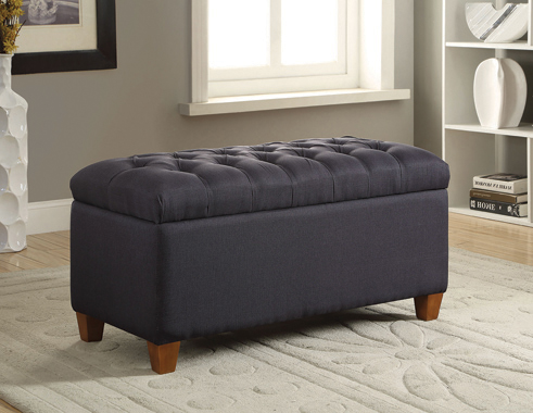 Tufted Storage Bench Dark Navy - Hover