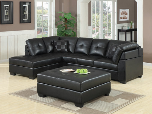 Darie Cushion Back Tufted Sectional Sofa Black - Hover