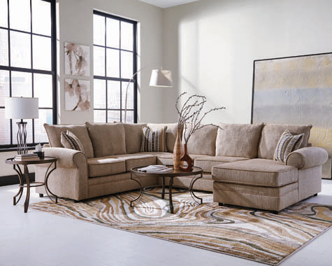 Fairhaven Rolled Arm Sectional Cream Herringbone - Hover