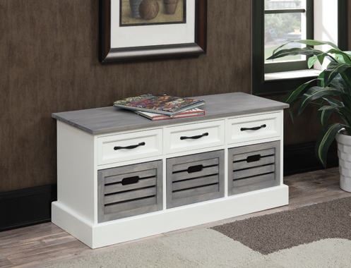 3-drawer Storage Bench White and Weathered Grey - Hover