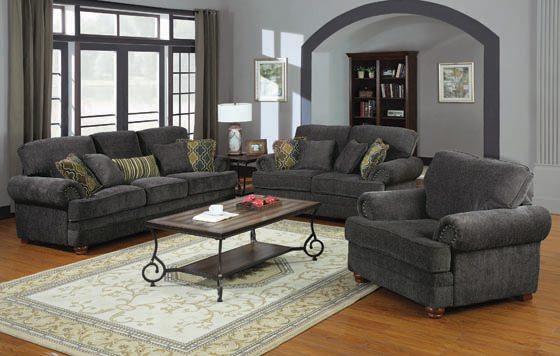 Colton Rolled Arm Upholstered Sofa Smokey Grey - Hover