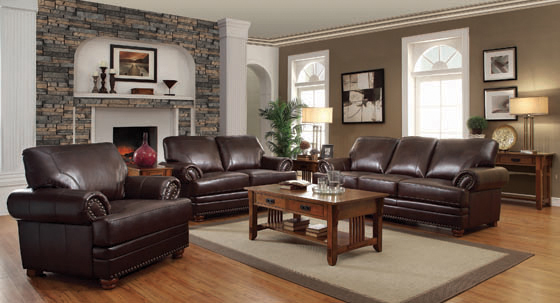 Colton Rolled Arm Upholstered Sofa Brown - Hover