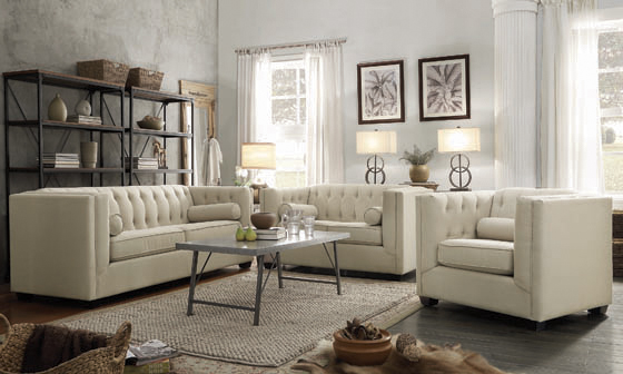 Cairns Tuxedo Arm Tufted Loveseat Oatmeal - Hover