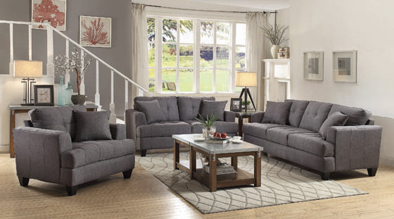 Samuel Tufted Loveseat Charcoal - Hover