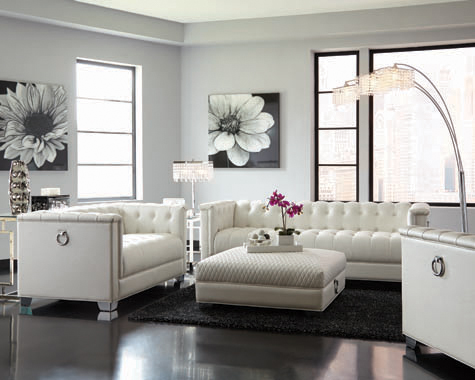 Chaviano Tufted Upholstered Sofa Pearl White - Hover