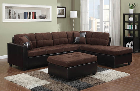 Mallory Upholstered Sectional Chocolate and Dark Brown - Hover