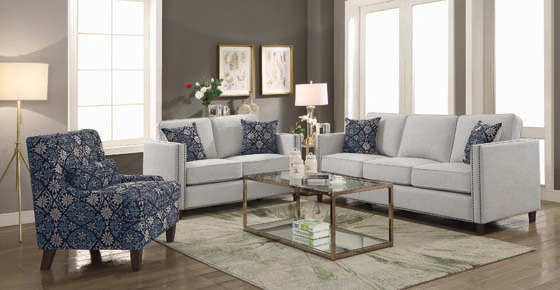Coltrane Upholstered Sofa with Nailhead Trim Putty - Hover