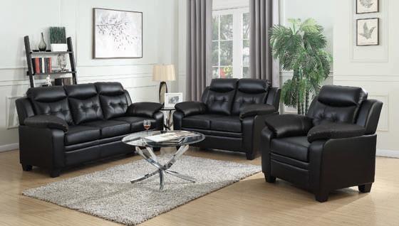 Finley Tufted Upholstered Sofa Black - Hover