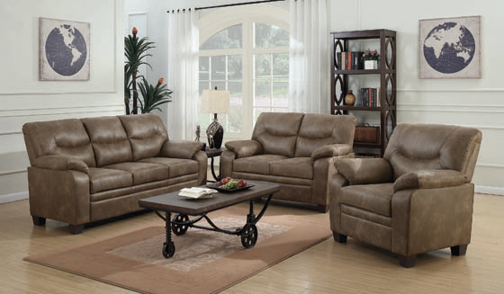 Meagan Upholstered Loveseat Brown with Pillow Top Arms - Hover