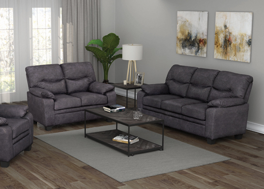 Meagan Pillow Top Arms Upholstered Sofa Charcoal - Hover