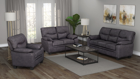 Meagan Pillow Top Arms Upholstered Loveseat Charcoal - Hover
