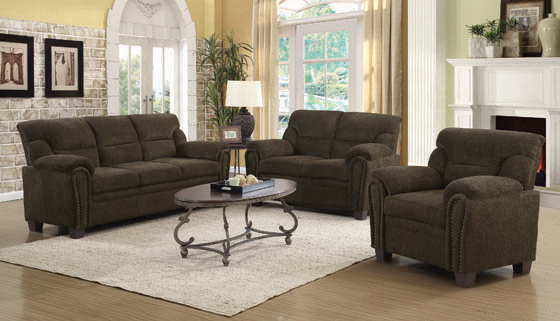 Clemintine Upholstered Loveseat with Nailhead Trim Brown - Hover