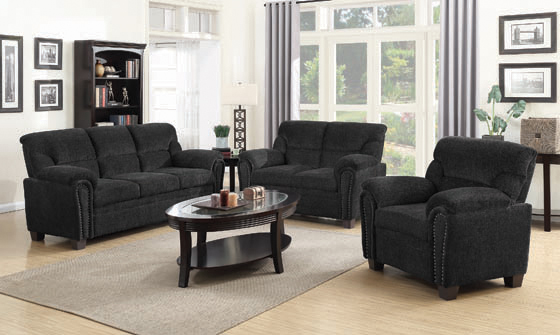 Clemintine Upholstered Loveseat with Nailhead Trim Graphite - Hover