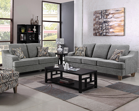 Burbank 2-piece Living Room Set Grey