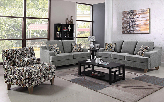 Burbank 3-piece Living Room Set Grey