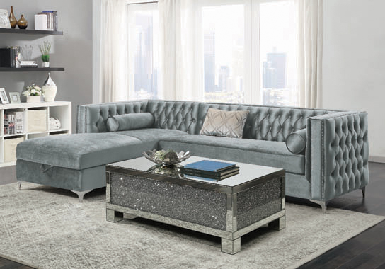 Bellaire Button-tufted Upholstered Sectional Silver - Hover